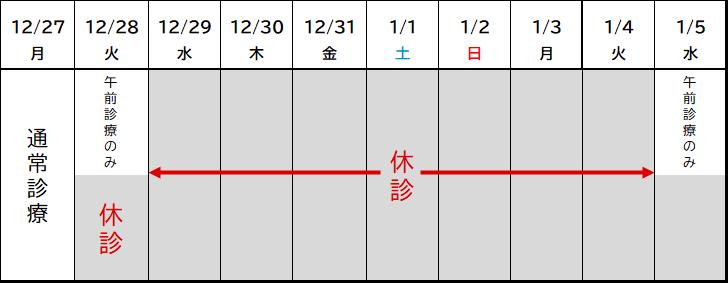 2021年は12月28日(火)の午前まで診療しています。   2022年は1月5日(水)から通常通りの診療になります。(5日は水曜日のため、午前診療のみとなります。)